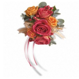 Sunset Beauty Corsage by George Thomas Florist